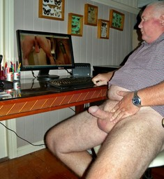 90 yo man with huge erect dick, mature..