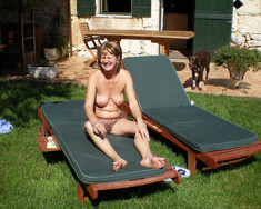 Mature wife sunbathing naked hubby..